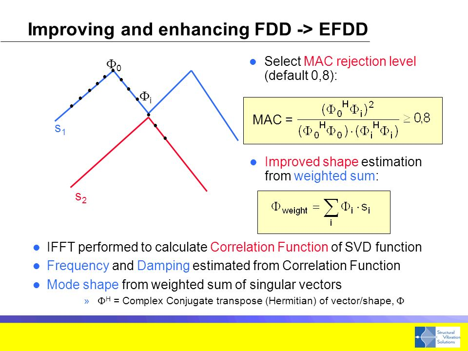 Improving and enhancing FDD -> EFDD IFFT performed to calculate Correlation Function of SVD function Frequency and Damping estimated from Correlation Function Mode shape from weighted sum of singular vectors » H = Complex Conjugate transpose (Hermitian) of vector/shape, s1s1 s2s2 0 i MAC = Improved shape estimation from weighted sum: Select MAC rejection level (default 0,8):