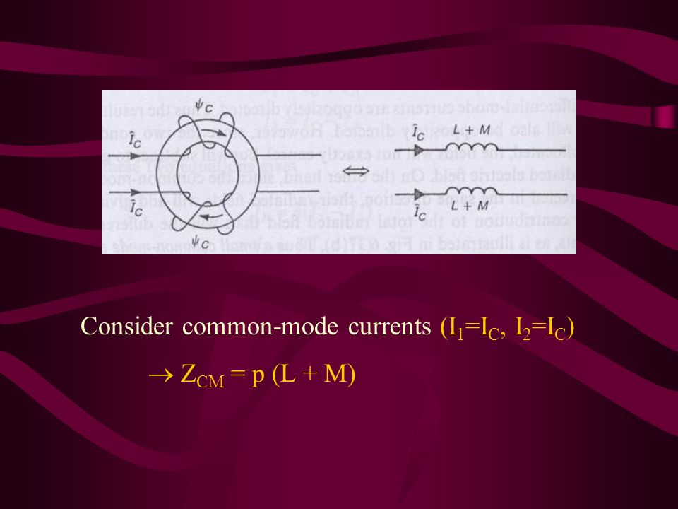 Consider common-mode currents (I 1 =I C, I 2 =I C ) Z CM = p (L + M)