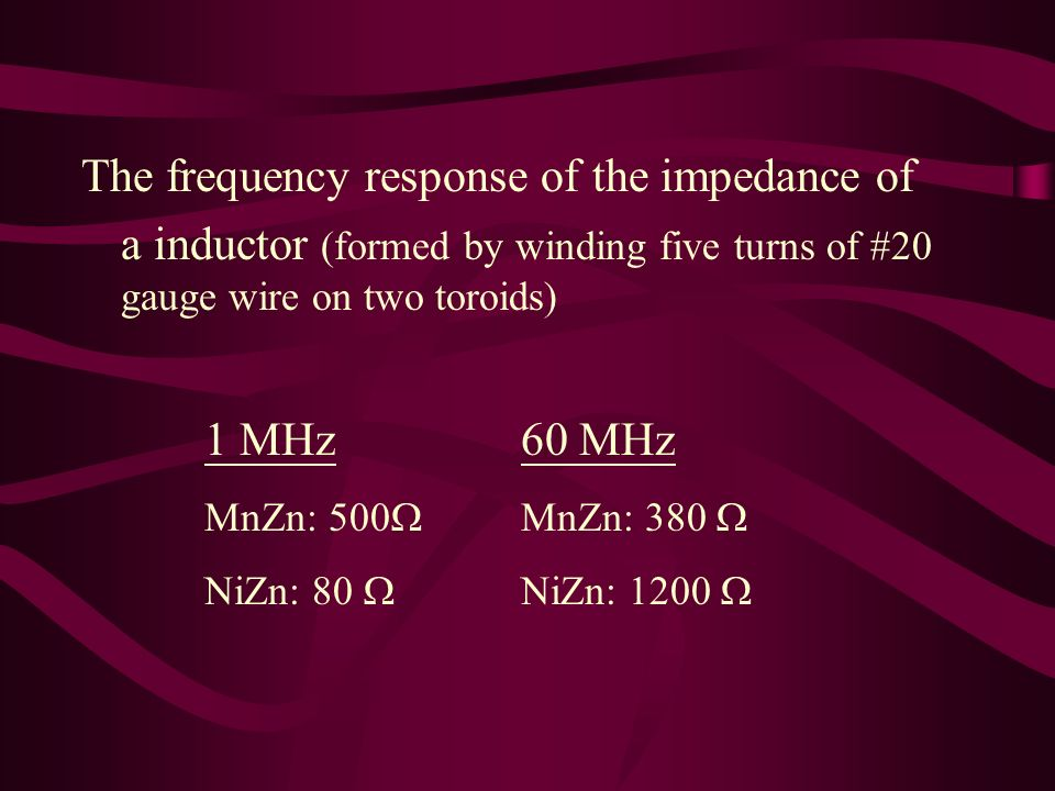 The frequency response of the impedance of a inductor (formed by winding five turns of #20 gauge wire on two toroids) 1 MHz 60 MHz MnZn: 500 MnZn: 380 NiZn: 80 NiZn: 1200