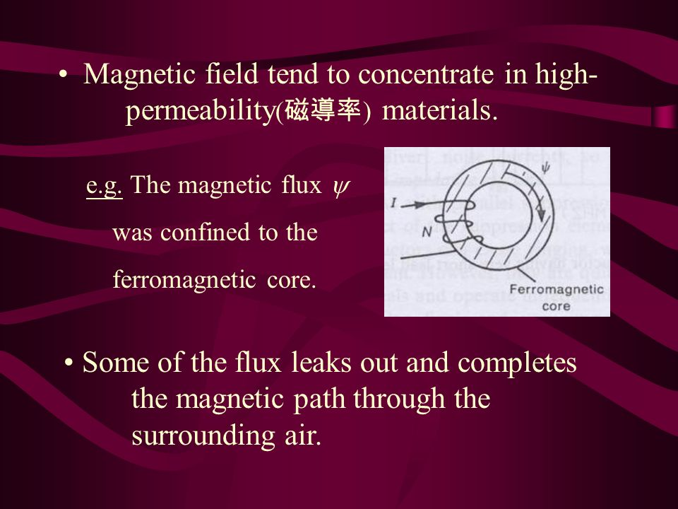 Magnetic field tend to concentrate in high- permeability ( ) materials.