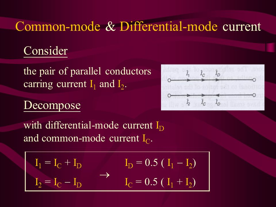 Common-mode & Differential-mode current Consider the pair of parallel conductors carring current I 1 and I 2.