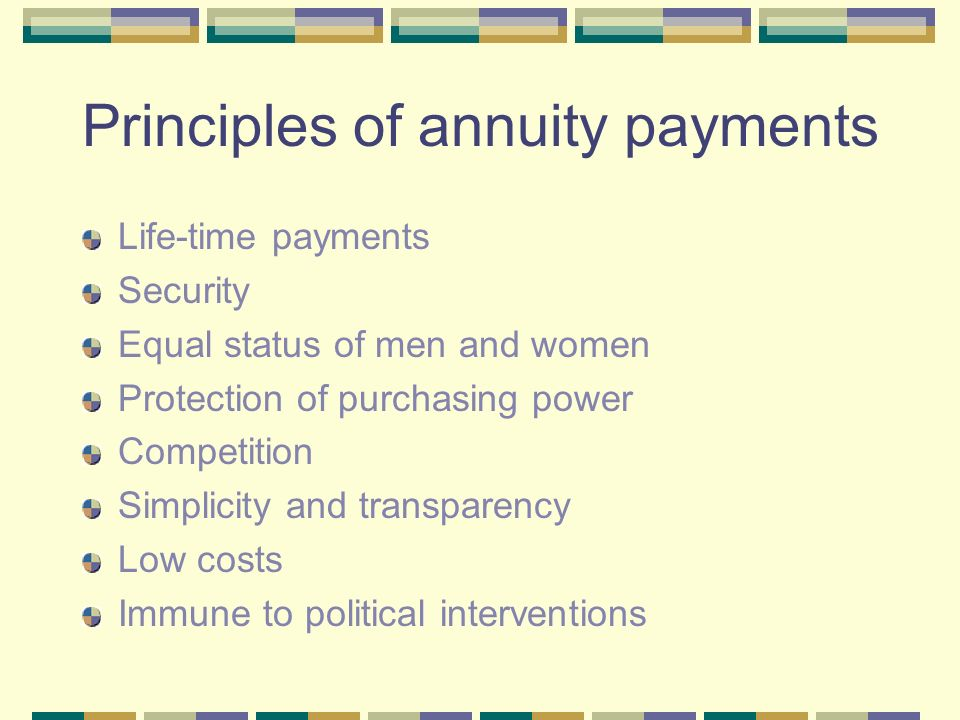 Principles of annuity payments Life-time payments Security Equal status of men and women Protection of purchasing power Competition Simplicity and transparency Low costs Immune to political interventions