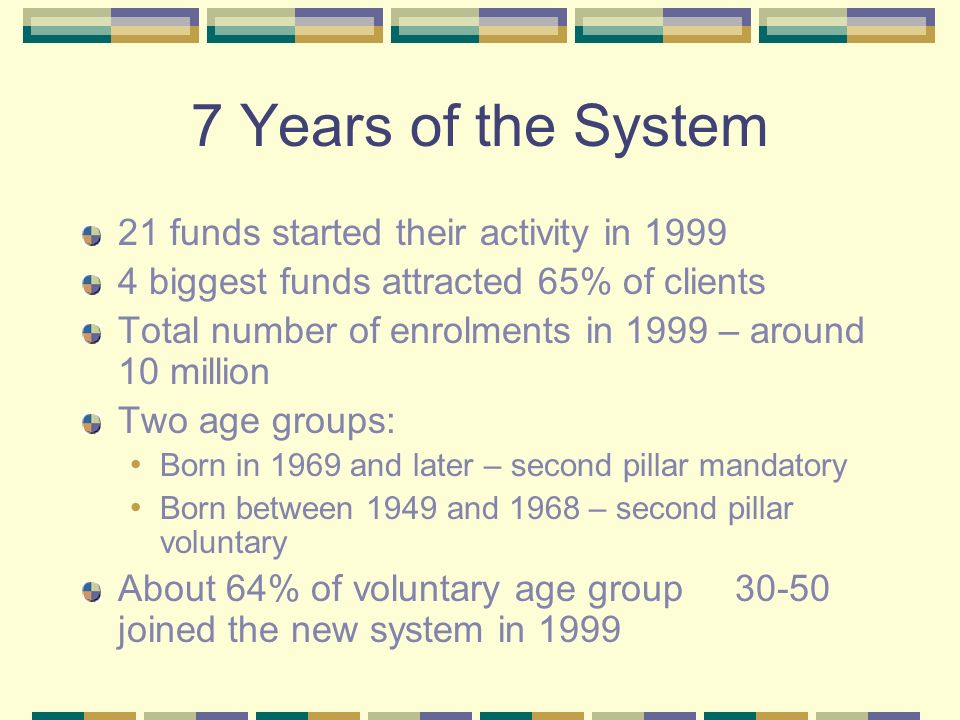 7 Years of the System 21 funds started their activity in biggest funds attracted 65% of clients Total number of enrolments in 1999 – around 10 million Two age groups: Born in 1969 and later – second pillar mandatory Born between 1949 and 1968 – second pillar voluntary About 64% of voluntary age group joined the new system in 1999