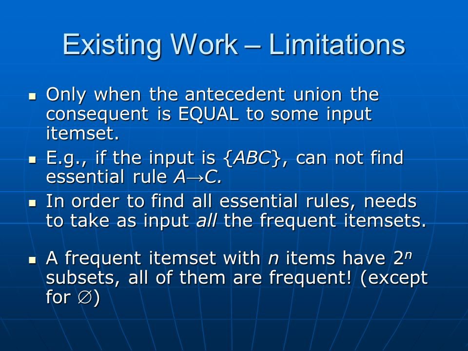 Existing Work – Limitations Only when the antecedent union the consequent is EQUAL to some input itemset.
