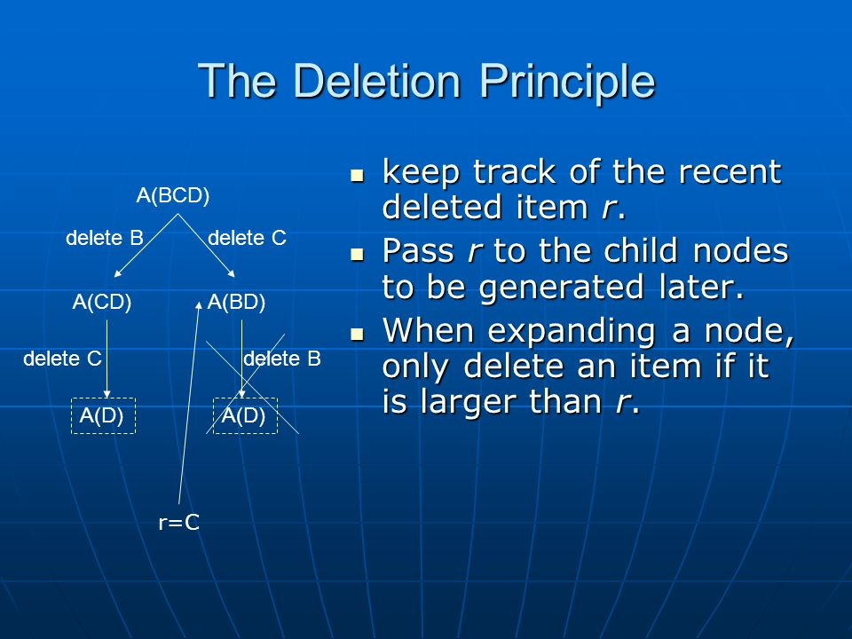 The Deletion Principle keep track of the recent deleted item r.