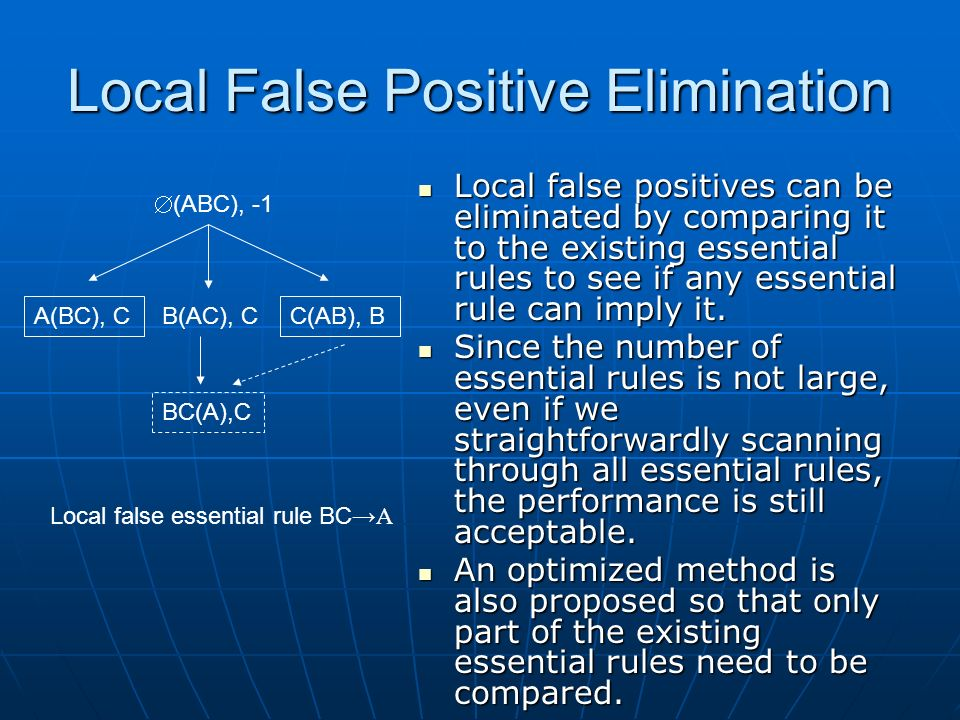 Local False Positive Elimination Local false positives can be eliminated by comparing it to the existing essential rules to see if any essential rule can imply it.