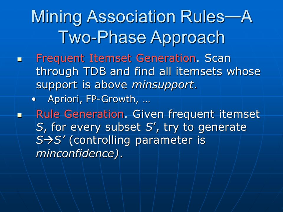 Mining Association Rules A Two-Phase Approach Frequent Itemset Generation.