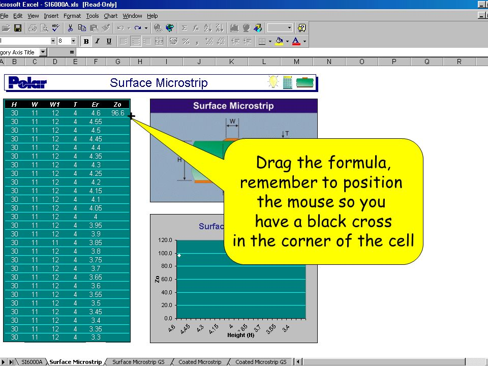 Drag the formula, remember to position the mouse so you have a black cross in the corner of the cell +