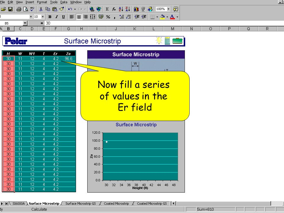 Now fill a series of values in the Er field