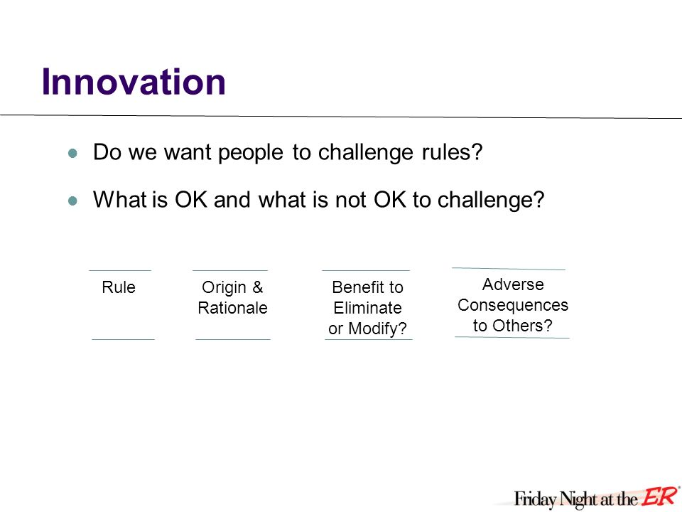 Innovation Do we want people to challenge rules. What is OK and what is not OK to challenge.