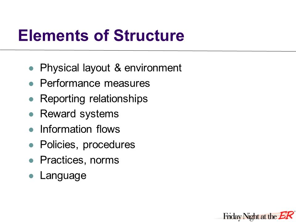 Elements of Structure Physical layout & environment Performance measures Reporting relationships Reward systems Information flows Policies, procedures Practices, norms Language