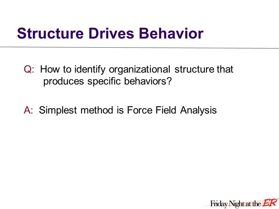 Structure Drives Behavior Q: How to identify organizational structure that produces specific behaviors.