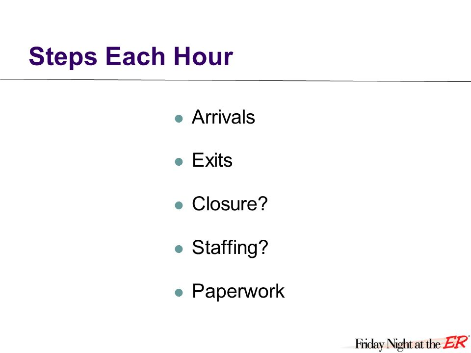 Steps Each Hour Arrivals Exits Closure Staffing Paperwork