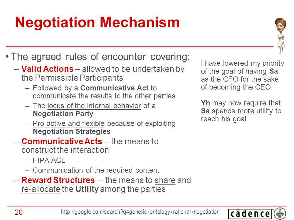 q=generic+ontology+rational+negotiation 20 Negotiation Mechanism The agreed rules of encounter covering: –Valid Actions – allowed to be undertaken by the Permissible Participants –Followed by a Communicative Act to communicate the results to the other parties –The locus of the internal behavior of a Negotiation Party –Pro-active and flexible because of exploiting Negotiation Strategies –Communicative Acts – the means to construct the interaction –FIPA ACL –Communication of the required content –Reward Structures – the means to share and re-allocate the Utility among the parties I have lowered my priority of the goal of having Sa as the CFO for the sake of becoming the CEO Yh may now require that Sa spends more utility to reach his goal