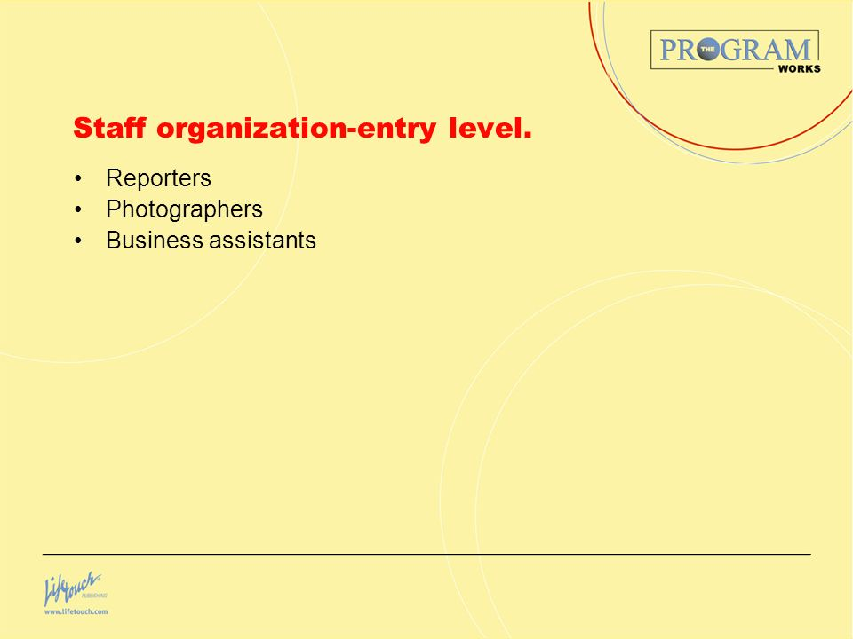 Staff organization-entry level. Reporters Photographers Business assistants