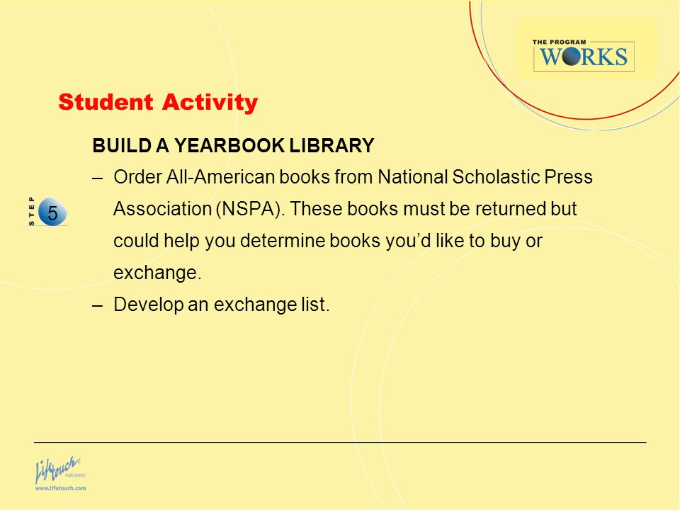 Student Activity BUILD A YEARBOOK LIBRARY –Order All-American books from National Scholastic Press Association (NSPA).