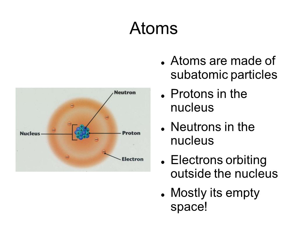Atoms Atoms are made of subatomic particles Protons in the nucleus Neutrons in the nucleus Electrons orbiting outside the nucleus Mostly its empty space!