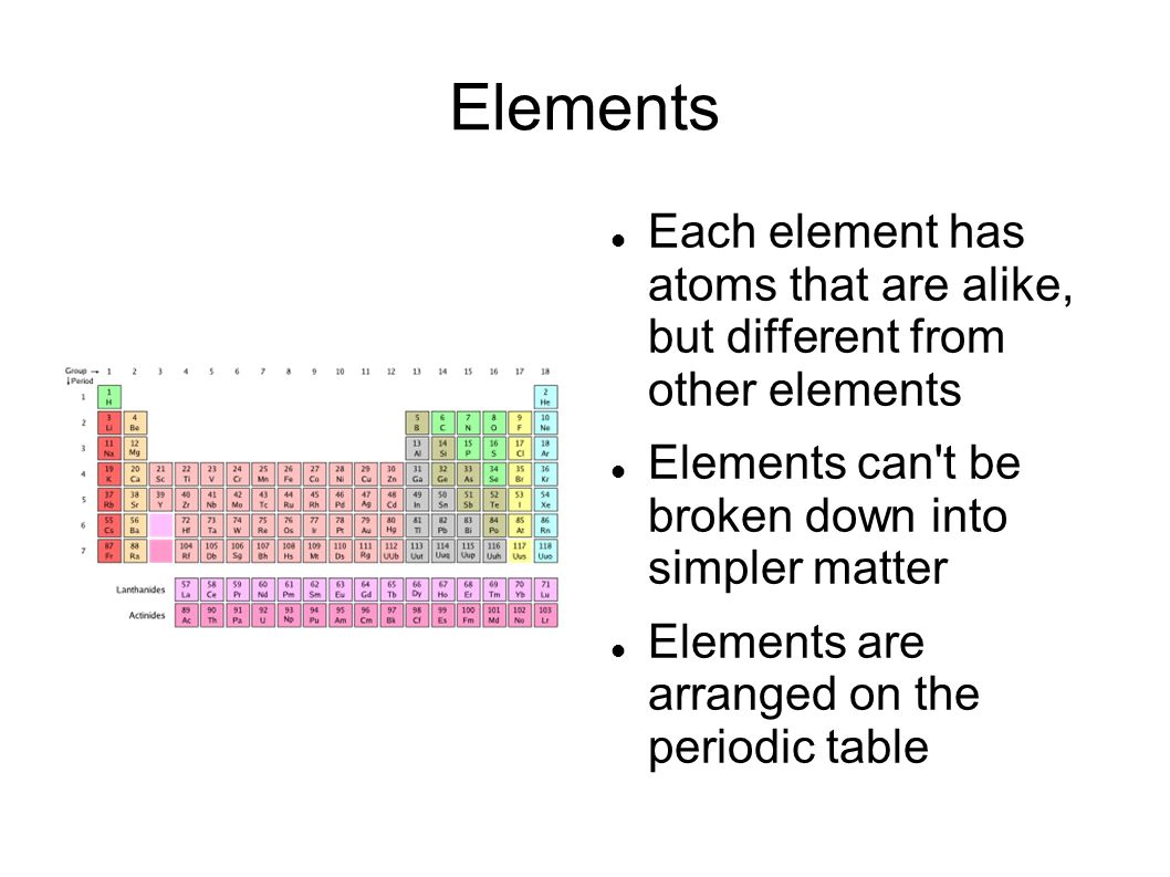 Elements Each element has atoms that are alike, but different from other elements Elements can t be broken down into simpler matter Elements are arranged on the periodic table