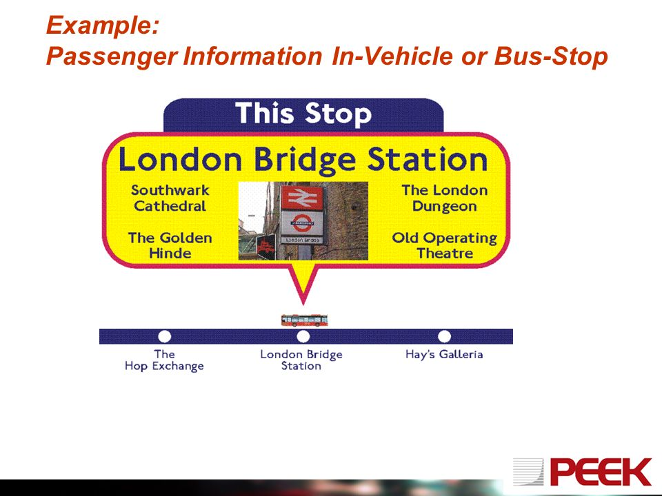 Example: Passenger Information In-Vehicle or Bus-Stop