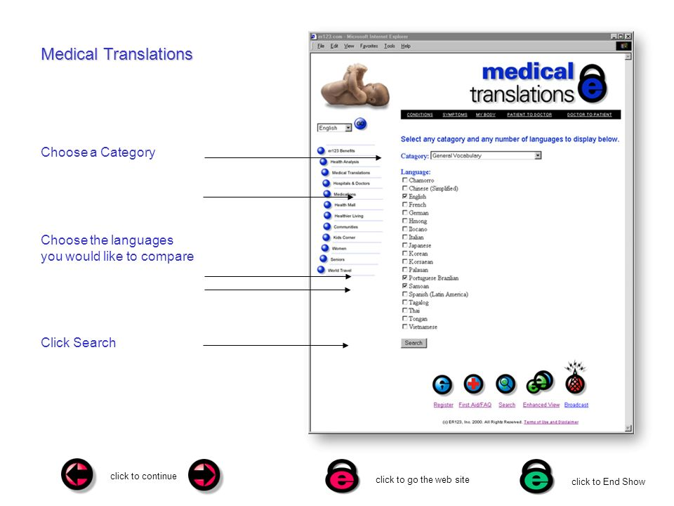 click to continue click to go the web site click to End Show Medical Translations Choose a Category Choose the languages you would like to compare Click Search