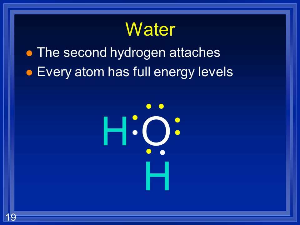19 Water l The second hydrogen attaches l Every atom has full energy levels H O H