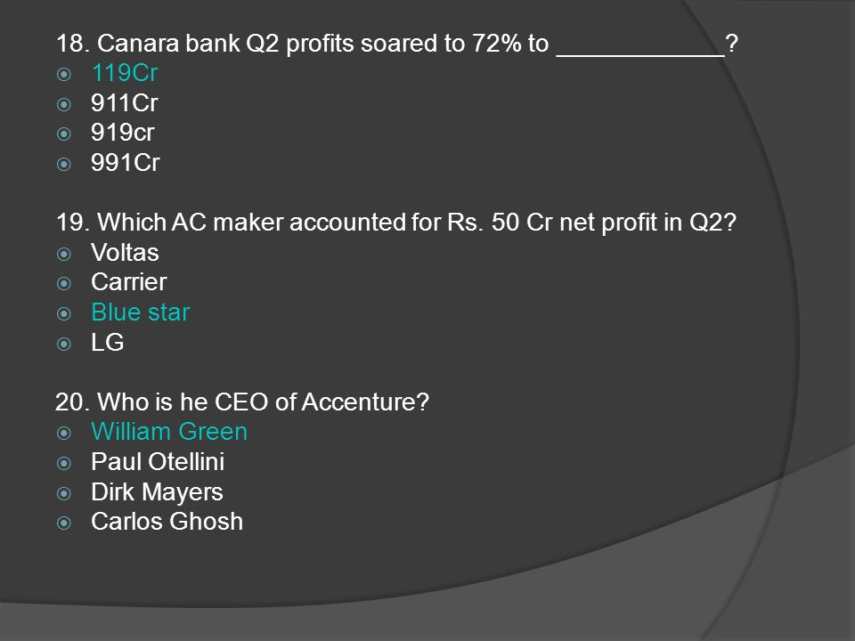 18. Canara bank Q2 profits soared to 72% to ____________.