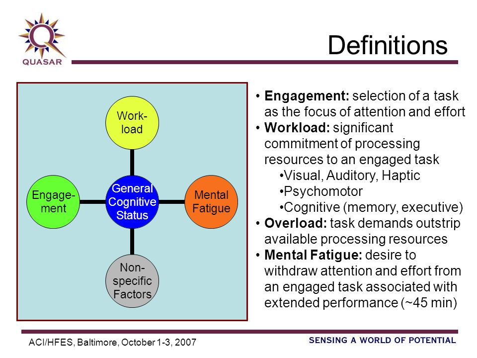ACI/HFES, Baltimore, October 1-3, 2007 Definitions Engagement: selection of a task as the focus of attention and effort Workload: significant commitment of processing resources to an engaged task Visual, Auditory, Haptic Psychomotor Cognitive (memory, executive) Overload: task demands outstrip available processing resources Mental Fatigue: desire to withdraw attention and effort from an engaged task associated with extended performance (~45 min) General Cognitive Status Work- load Mental Fatigue Non- specific Factors Engage- ment