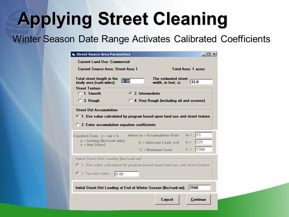 Applying Street Cleaning Winter Season Date Range Activates Calibrated Coefficients
