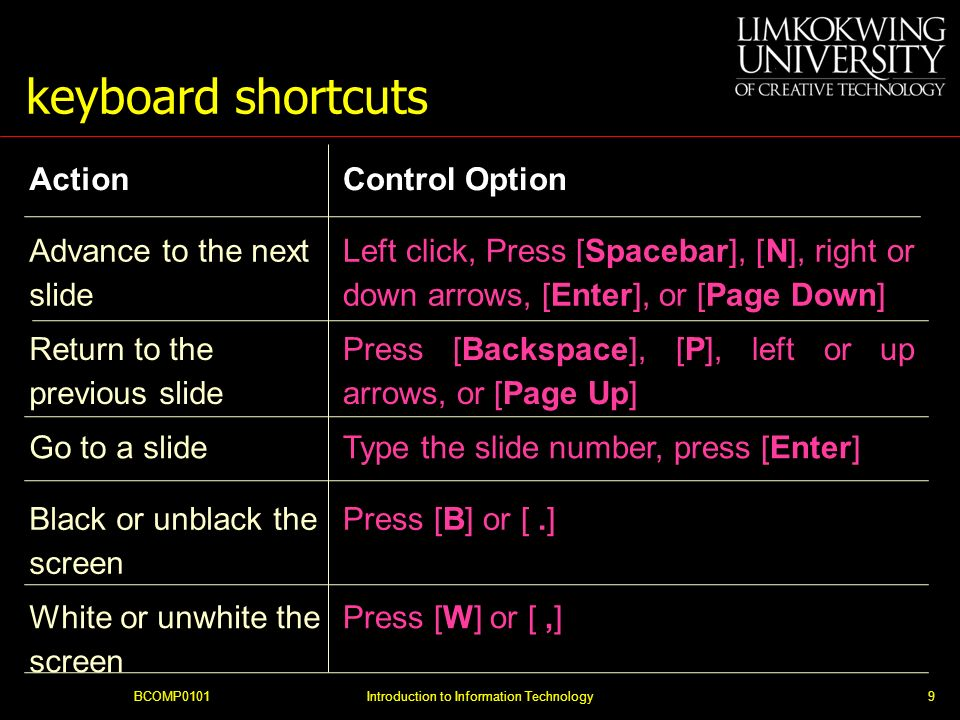 keyboard shortcuts BCOMP0101Introduction to Information Technology9 ActionControl Option Advance to the next slide Left click, Press [Spacebar], [N], right or down arrows, [Enter], or [Page Down] Return to the previous slide Press [Backspace], [P], left or up arrows, or [Page Up] Go to a slideType the slide number, press [Enter] Black or unblack the screen Press [B] or [.] White or unwhite the screen Press [W] or [,]
