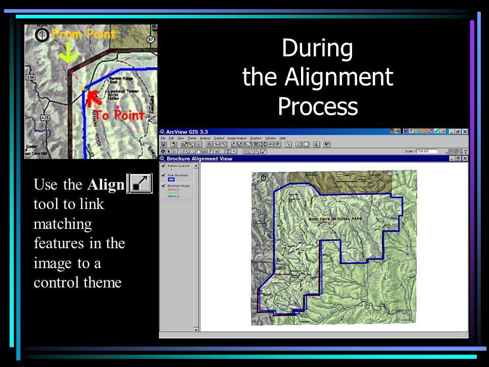 During the Alignment Process Use the Align tool to link matching features in the image to a control theme