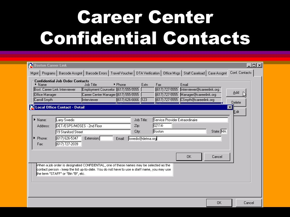 Career Center Confidential Contacts