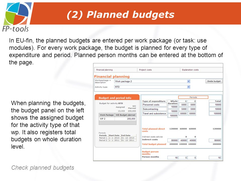(2) Planned budgets Check planned budgets In EU-fin, the planned budgets are entered per work package (or task: use modules).