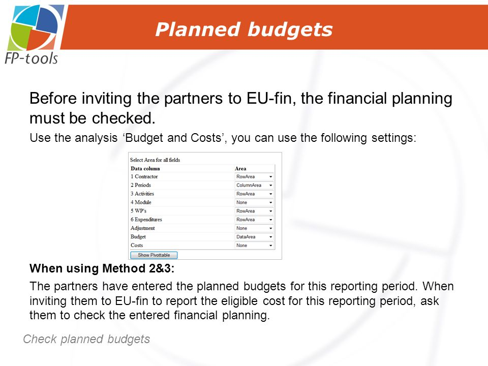 Before inviting the partners to EU-fin, the financial planning must be checked.