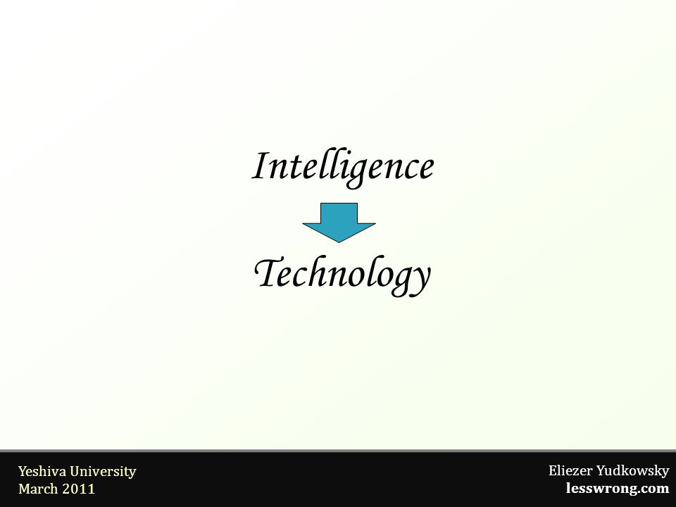 Eliezer Yudkowsky lesswrong.com Yeshiva University March 2011 Intelligence Technology