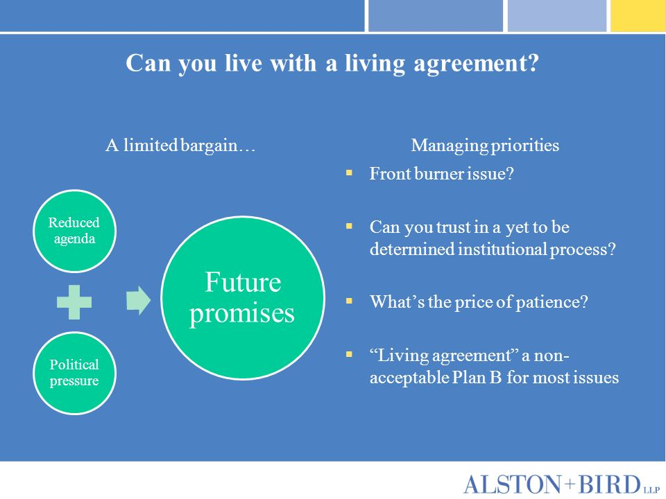 Privileged Attorney-Client Communication Can you live with a living agreement.
