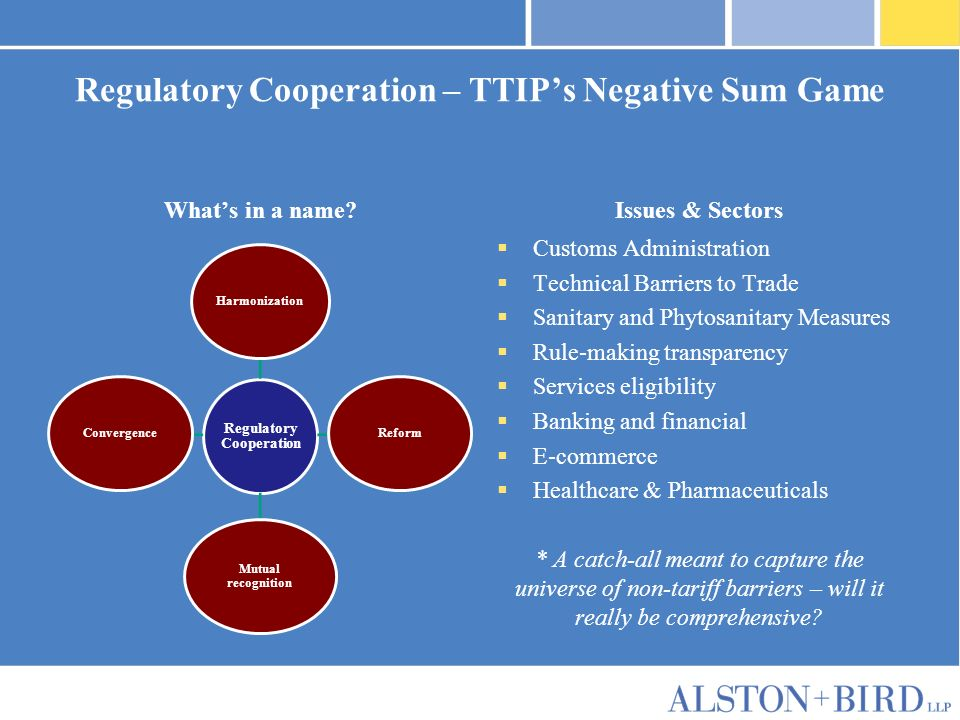 Privileged Attorney-Client Communication Regulatory Cooperation – TTIPs Negative Sum Game Whats in a name.