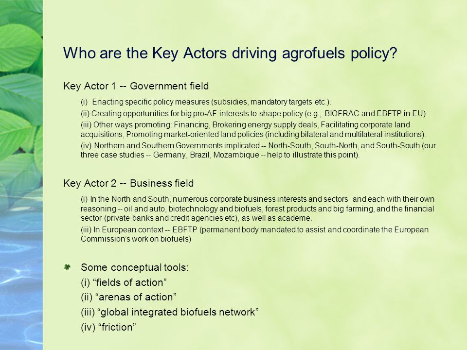 Who are the Key Actors driving agrofuels policy.