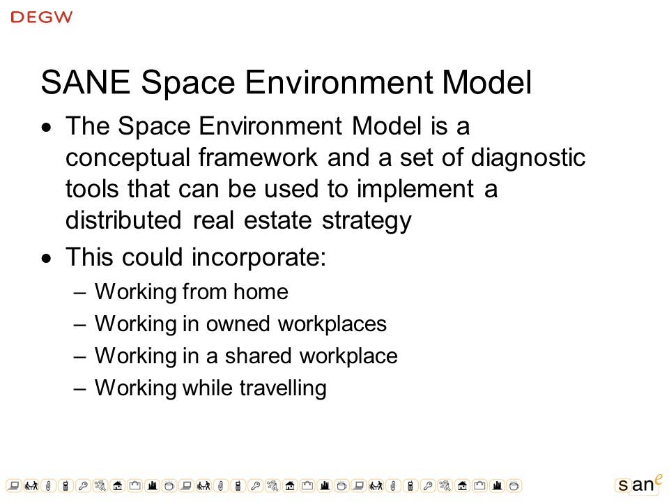 SANE Space Environment Model The Space Environment Model is a conceptual framework and a set of diagnostic tools that can be used to implement a distributed real estate strategy This could incorporate: –Working from home –Working in owned workplaces –Working in a shared workplace –Working while travelling