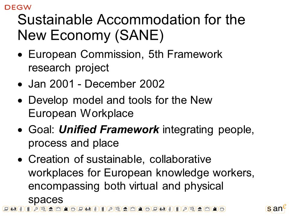 Sustainable Accommodation for the New Economy (SANE) European Commission, 5th Framework research project Jan December 2002 Develop model and tools for the New European Workplace Goal: Unified Framework integrating people, process and place Creation of sustainable, collaborative workplaces for European knowledge workers, encompassing both virtual and physical spaces