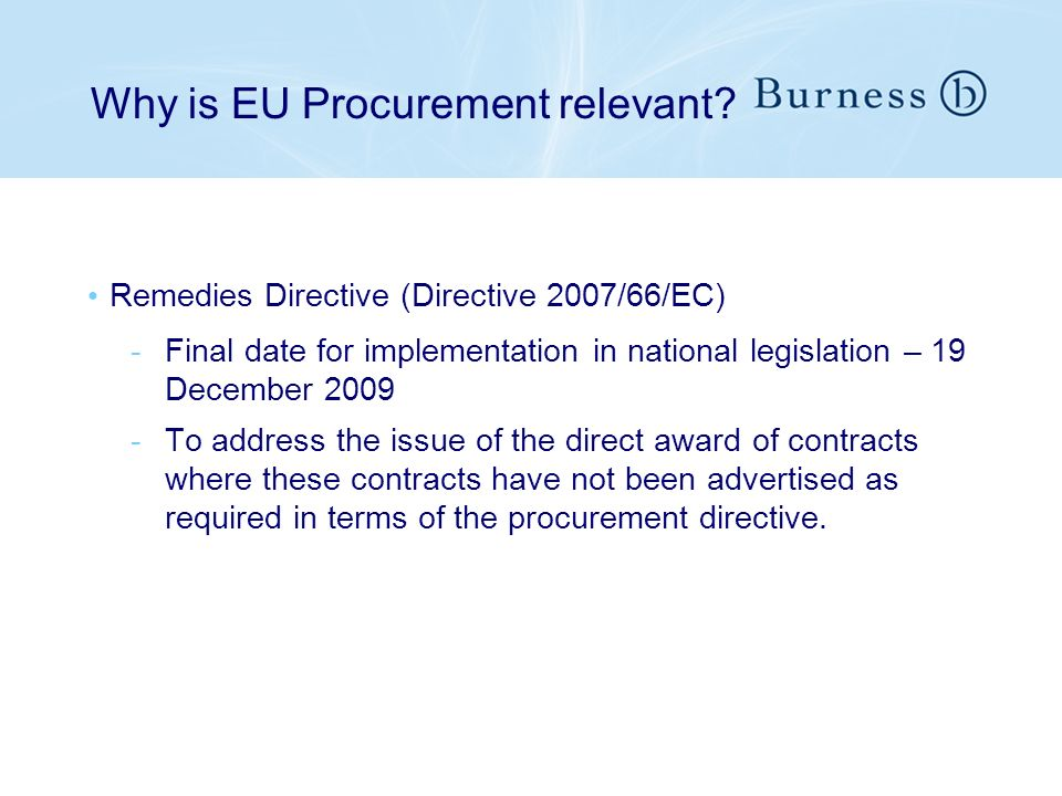 Why is EU Procurement relevant.