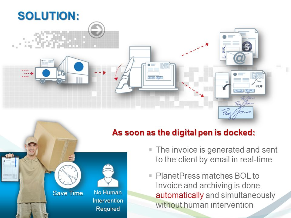 As soon as the digital pen is docked: The invoice is generated and sent to the client by  in real-time PlanetPress matches BOL to Invoice and archiving is done automatically and simultaneously without human intervention No Human InterventionRequired Save Time SOLUTION: