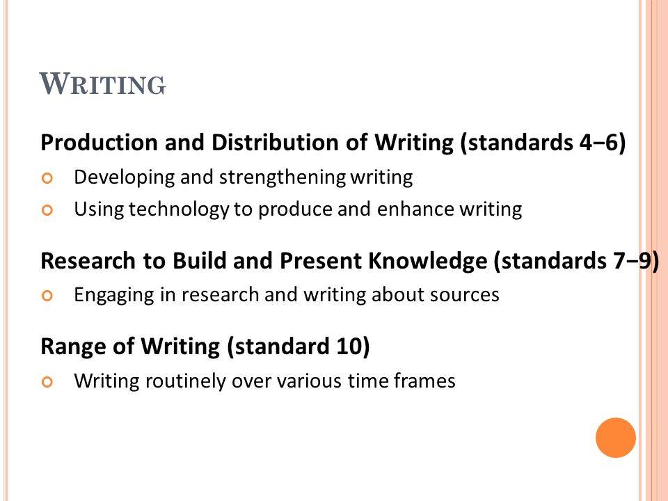 W RITING Production and Distribution of Writing (standards 46) Developing and strengthening writing Using technology to produce and enhance writing Research to Build and Present Knowledge (standards 79) Engaging in research and writing about sources Range of Writing (standard 10) Writing routinely over various time frames
