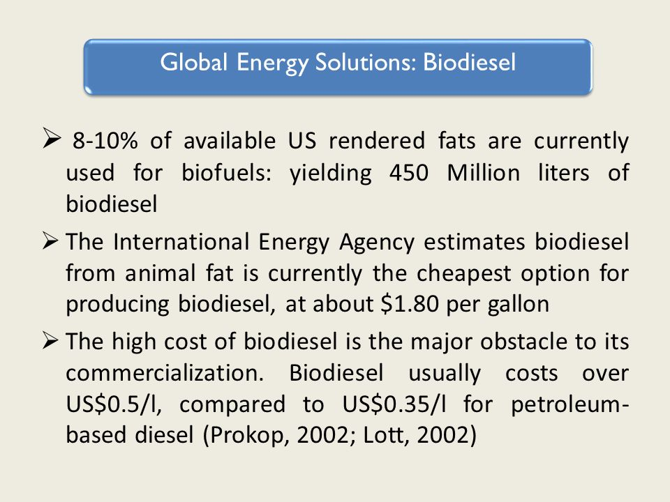 Biodiesel 8-10% of available US rendered fats are currently used for biofuels: yielding 450 Million liters of biodiesel The International Energy Agency estimates biodiesel from animal fat is currently the cheapest option for producing biodiesel, at about $1.80 per gallon The high cost of biodiesel is the major obstacle to its commercialization.