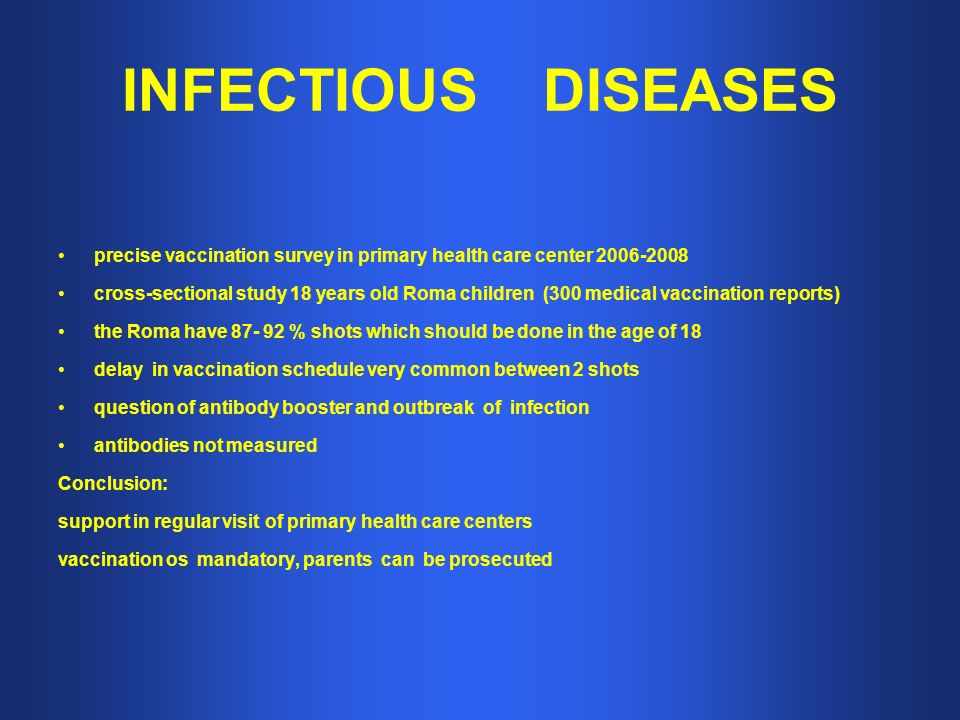 INFECTIOUS DISEASES precise vaccination survey in primary health care center cross-sectional study 18 years old Roma children (300 medical vaccination reports) the Roma have % shots which should be done in the age of 18 delay in vaccination schedule very common between 2 shots question of antibody booster and outbreak of infection antibodies not measured Conclusion: support in regular visit of primary health care centers vaccination os mandatory, parents can be prosecuted