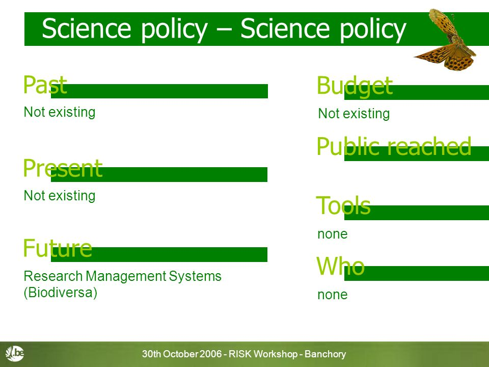 30th October RISK Workshop - Banchory Science policy – Science policy Not existing Budget Past Public reached none Tools none Who Present Future Not existing Research Management Systems (Biodiversa)