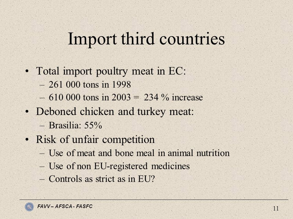 FAVV – AFSCA - FASFC 11 Import third countries Total import poultry meat in EC: –261 000 tons in 1998 –610 000 tons in 2003 = 234 % increase Deboned chicken and turkey meat: –Brasilia: 55% Risk of unfair competition –Use of meat and bone meal in animal nutrition –Use of non EU-registered medicines –Controls as strict as in EU