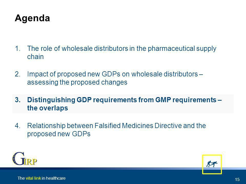 The vital link in healthcare 15 Agenda 4.Relationship between Falsified Medicines Directive and the proposed new GDPs 3.Distinguishing GDP requirements from GMP requirements – the overlaps 2.Impact of proposed new GDPs on wholesale distributors – assessing the proposed changes 1.The role of wholesale distributors in the pharmaceutical supply chain