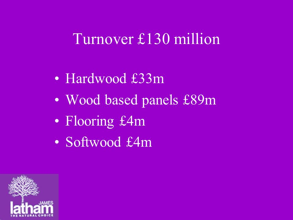 Hardwood £33m Wood based panels £89m Flooring £4m Softwood £4m Turnover £130 million