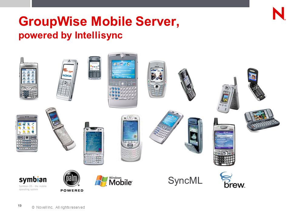© Novell Inc. All rights reserved 19 GroupWise Mobile Server, powered by Intellisync SyncML