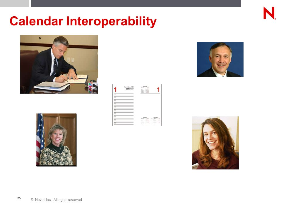 © Novell Inc. All rights reserved 25 Calendar Interoperability